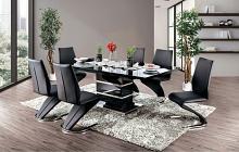 CM3650BK-T-7PC 7 pc Orren ellis mattison midvale modern style black high gloss dining table set