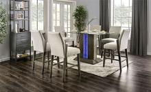 CM3718PT-7PC 7 pc Wrought studio pignataro turton gray finish wood center pedestal led light strip counter height dining table set