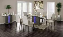CM3718T-7PC 7 pc Wrought studio pignataro turton gray finish wood center pedestal led light strip dining table set