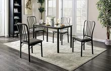 CM3731T-5PC 5 pc Larton philon dark grey metal frame faux marble top dining table set