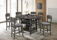 CM3733GY-RPT-7PC 7 pc Canora grey stacie gray finish wood round / square drop leaf counter height dining table set