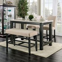 CM3736PT-IV 4 pc Red barrel studio brule antique black finish wood marble top counter height dining table set