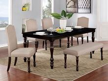 CM3738T-6PC 6 pc Alcott hill shirlene hilma espresso finish wood dining table set with bench