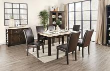 CM3741T-7PC 7 pc Faven antique dark walnut finish wood marble top dining table set