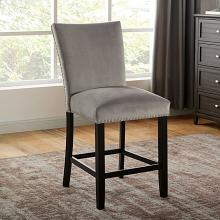 CM3744GY-PC-2PK  Set of 2 Reb barrel studios kian black finish wood gray flannelette fabric nail head trim counter height dining chairs