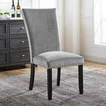 CM3744GY-SC-2PK  Set of 2 Reb barrel studios kian black finish wood gray flannelette fabric nail head trim dining chairs