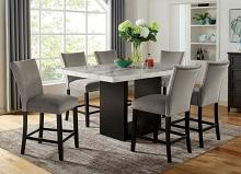 CM3744PT-7PC 7 pc Canora grey mel Kian II black finish wood marble top counter height dining table set