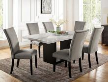 CM3744T 7 pc Canora grey mel kian I black finish wood marble top dining table set