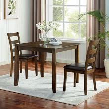 CM3770T-3PK 3 pc Canora grey mel gracefield walnut finish wood square dining table set