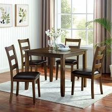 CM3770T-5PK 5 pc Canora grey mel gracefield walnut finish wood square dining table set