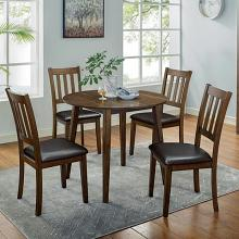 CM3771RT-5PK 5 pc Canora grey mel gracefield walnut finish wood round dining table set