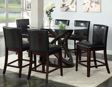 CM3774PT-7PC 7 pc Alcott hill holm atenna II dark walnut finish wood oval glass top counter height dining table set