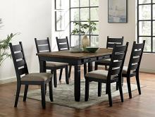 CM3783T 7 pc Canora grey mel lynn lake black and distressed dark oak finish wood dining table set