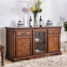 CM3788B Lucie cherry brown finish wood ornate accents dining buffet server console table