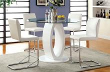 "CM3825WH-RPT 5 pc Orren ellis waller lodia ii modern style white finish wood base 48"" round counter height table set"