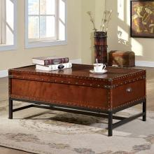 CM4110C 17 stories lentini milbank industrial cherry finish wood trunk style coffee table with storage