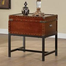 CM4110E 17 stories lentini milbank industrial cherry finish wood trunk style end table with storage