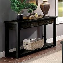 CM4123S Canora grey gillespie rhymney rustic dark oak finish wood sofa table with drawers