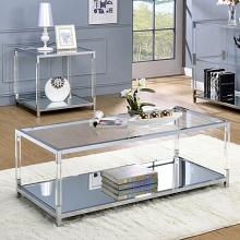 CM4153C Ludvig chrome metal and tempered glass and acrylic coffee table