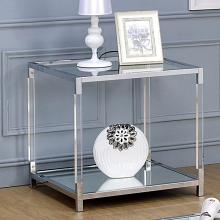 CM4153E Ludvig chrome metal and tempered glass and acrylic end table