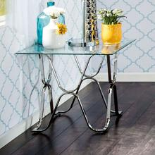 CM4229E Vador chrome metal and beveled glass finish end table