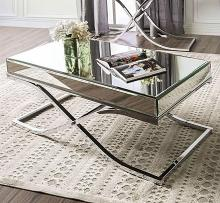 CM4230CRM-C Sundance chrome metal and beveled mirror finish coffee table