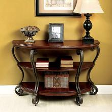 CM4326S Bloomsbury market riston may brown cherry finish wood half moon sofa entry console table with glass top
