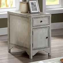 CM4327WH-T Meadow antique white finish wood plank style side table cabinet