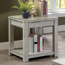 CM4327WH-E Meadow antique white finish wood plank style end table