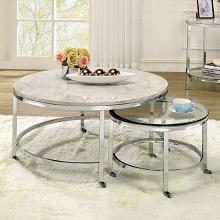 CM4354C 2 pc Brayden studio jaye shauna chome metal round nesting table set with faux marble and glass tops