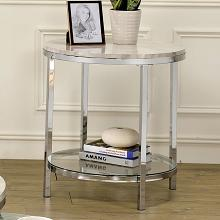 CM4354E Brayden studio jaye shauna chome metal round end table with faux marble top