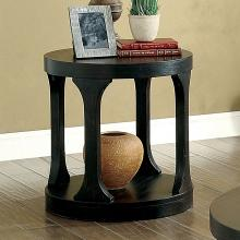CM4422E Red barrel studio honeoye carrie antique black finish wood round end table with lower shelf