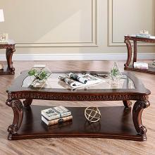 CM4428C Astoria grand rowlett walworth dark oak finish wood coffee table with decorative glass top