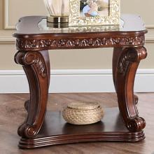 CM4428E Astoria grand rowlett walworth dark oak finish wood end table with decorative glass top