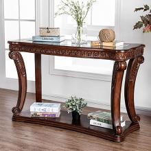 CM4428S Astoria grand rowlett walworth dark oak finish wood sofa entry console table with decorative glass top