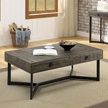 CM4498C Foundry select adison veblen industrial dark oak wood wirebrush finish coffee table with drawer