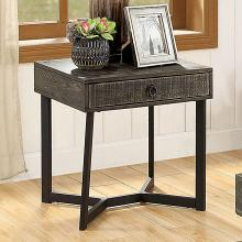 CM4498E Foundry select adison veblen industrial dark oak wood wirebrush finish end table with drawer