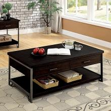 CM4499C Union rustic padova wasta dark oak finish wood coffee table with drawers and metal frame