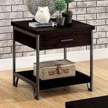 CM4499E Union rustic padova wasta dark oak finish wood end table with drawer and metal frame