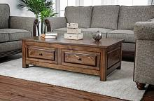 CM4613C Millwood pines burr annabel walnut finish wood coffee table with drawers