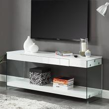 "CM5206WH-TV-60 Sabugal white finish wood modern style glass sides 60"" TV stand"