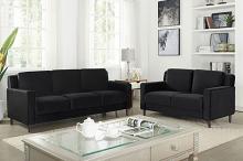 CM6064BK 2 pc Red barrel studio Brandi black flannelette fabric sofa and love seat set