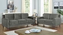 CM6064GY 2 pc Red barrel studio Brandi grey flannelette fabric sofa and love seat set