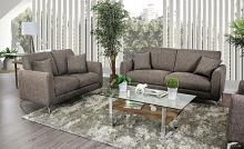 CM6088BR 2 pc Lauritz brown linen like fabric sofa and love seat set