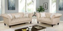 CM6210BG 2 pc Canora grey lisacs louella beige linen flannelette fabric chesterfield design sofa and love seat set