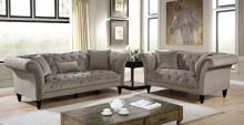 CM6210GY 2 pc Canora grey lisacs louella grey linen flannelette fabric chesterfield design sofa and love seat set