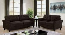 CM6213BR 2 pc Red barrel studio jahnston brown fabric tufted back sofa and love seat set