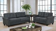 CM6213GY 2 pc Red barrel studio jahnston grey fabric tufted back sofa and love seat set