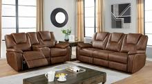 CM6219BR 2 pc Red barrel studio ffion brown leatherette sofa and love seat with power recliner ends