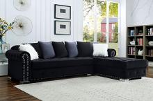 CM6239BK 2 pc Orren ellis wilmington black velvet like fabric sectional sofa set with chaise